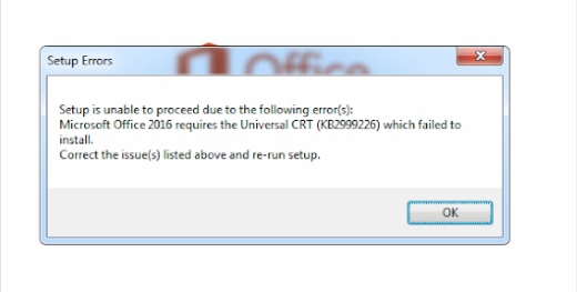 Setup is unable to proceed due to the following error(s)