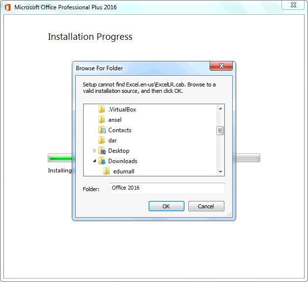 Setup cannot find Excel.en-us\ExcelLR.cab